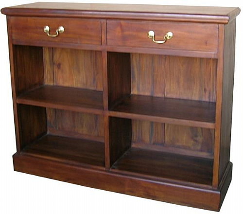 Low Bookcase with Two Drawers in Mahogany